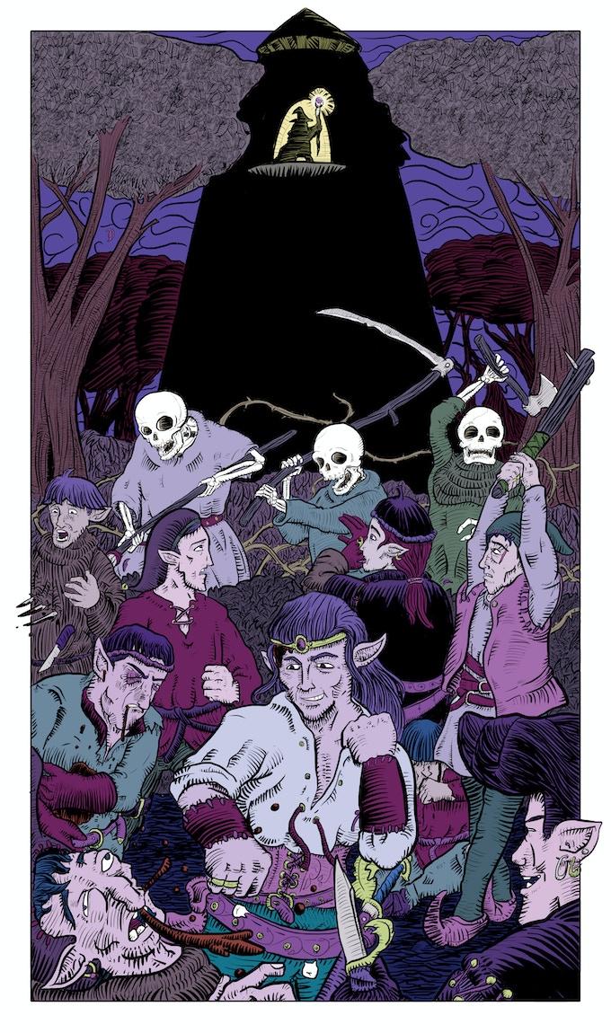Colourised illustration from Sword of the Bastard Elf