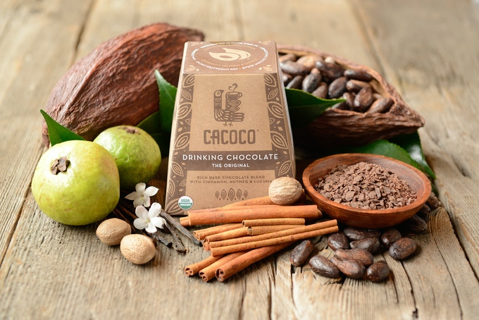 Net Weight 7.11 oz. - Ingredients: Cacao Butter*, Coconut Crystal Sugar*, Unroasted Cacao*, Carob*, Lucuma*, Himalayan Salt, Vanilla Bean*, Cinnamon*, Nutmeg*, Cayenne* (*Notes Organic)