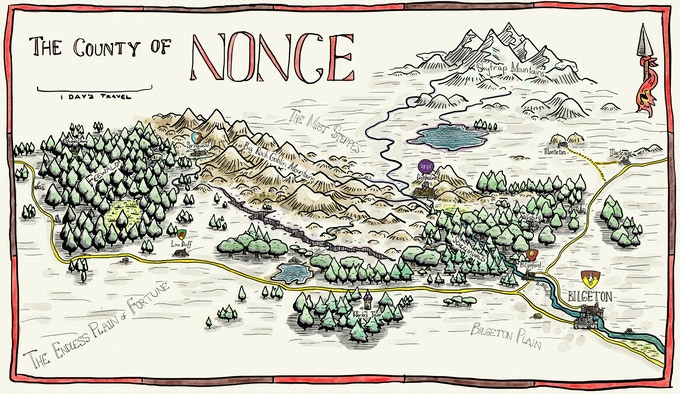 Early map of the County of Nonce - click for big.