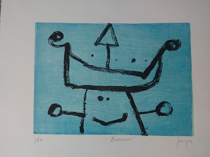 BUCANERO Grabado sobre madera 19.5 x 28 cm-- APARTADO--