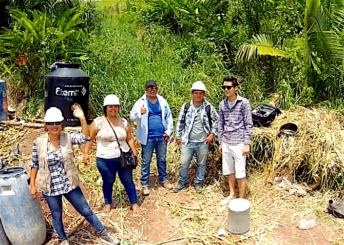 Peruvian architect and crew taking a break
