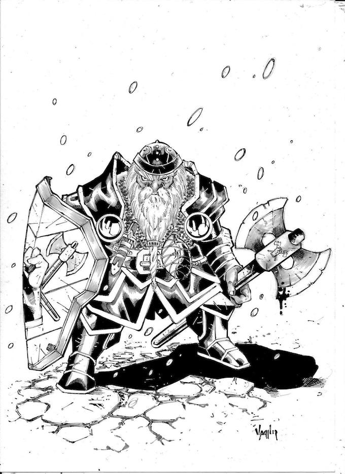 Inked dwarf warrior priest from Clan Ironfist
