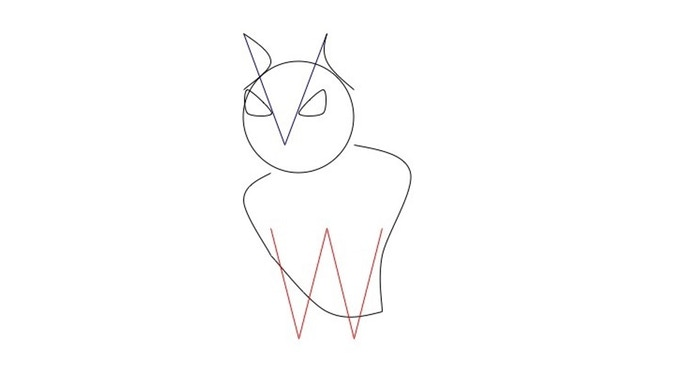 My very first (very amateur) conception of Berta which included the idea of making her 'eyebrows' from the 'V' and her legs from the 'W' of VerbWise