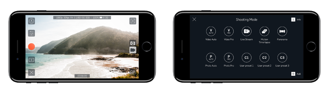 Camera view and shooting modes.