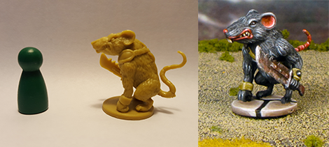 Painted example of one of Chad's pieces, from Plaid Hat Games Mice and Mystics.