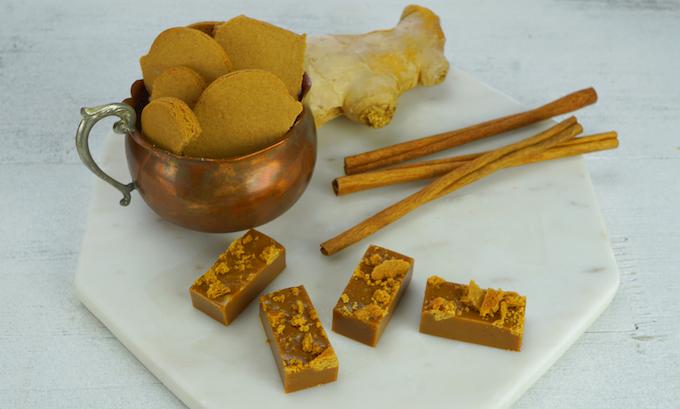 Caramia Caramels' X Milk & Cookies Bake Shop's Gingerbread Cookie Crumble. NOT GLUTEN FREE.