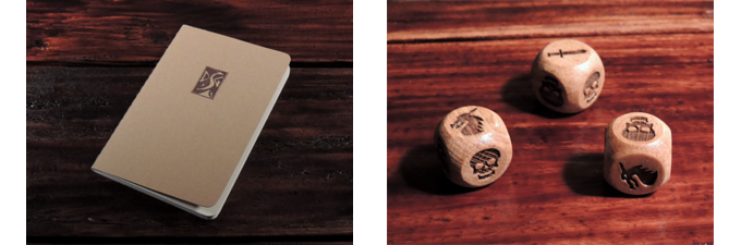 Quest journal and engraved tavern dice