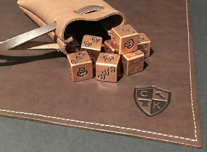 Leather Dice Mat with Our Copper Dice & Bag
