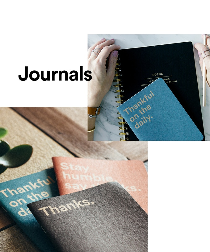 100% recycled paper journals printed with soy-based inks