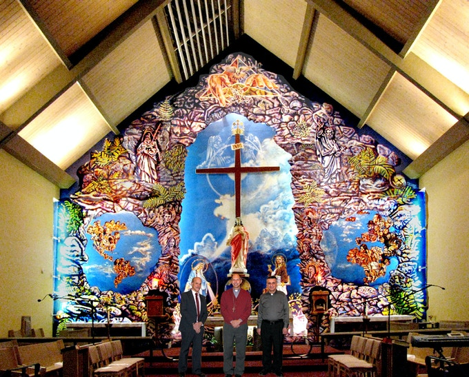 "30 years after the 1st ""Trinity"" mural in Halifax, I was commissioned to paint the truly ""monumental"" mural in Saskatoon, called ""March of Trinity"". Standing with Archbishop Donald Boland and Parish Priest Fr. Sabah Kamoura"