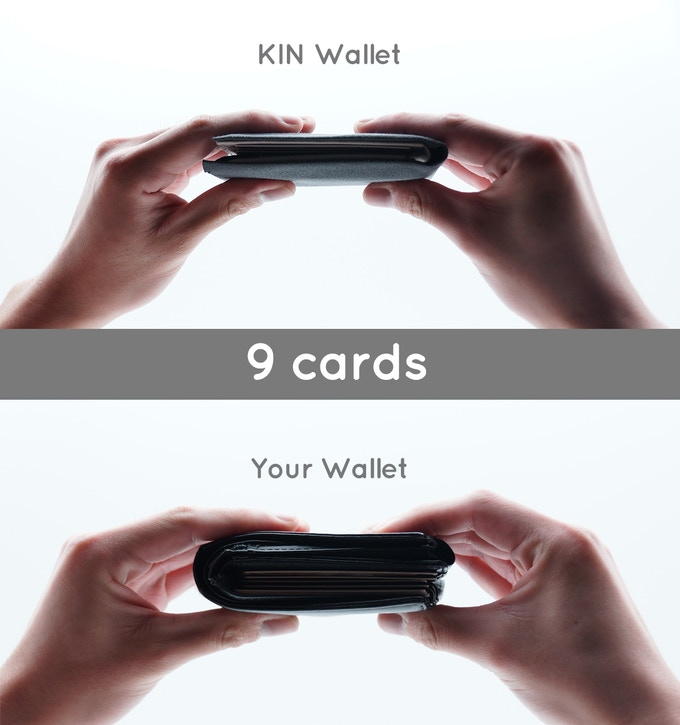 Many of you have asked us how thick KIN would be with cards. Here's a comparison of the wallets filled with 9 cards!