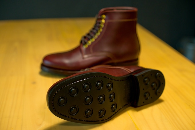 Dainite studded rubber sole. One of the best rubber outsole available.