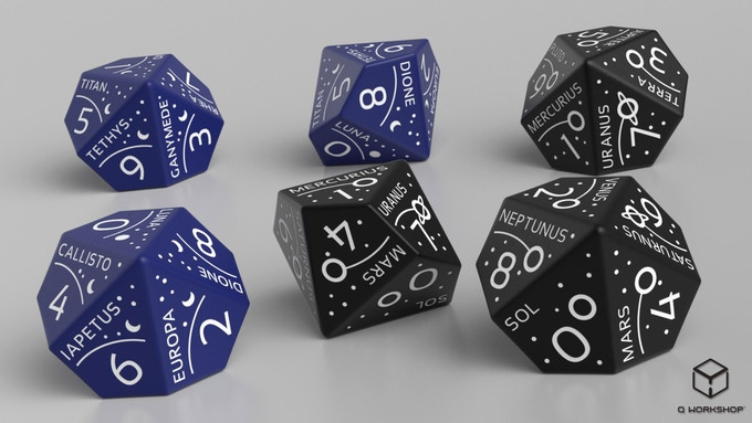 Rendering of Voyager Dice (planets d100, moons d10)
