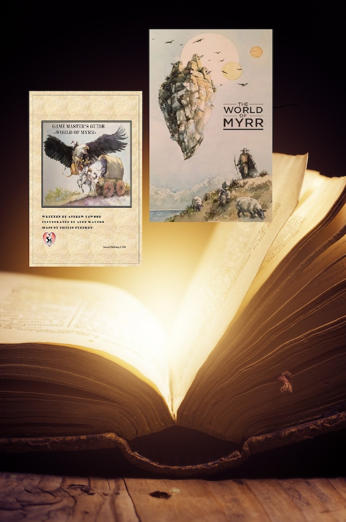 The Game Master's Guide and the World of Myrr campaign setting. Our DriveThruRpg products.