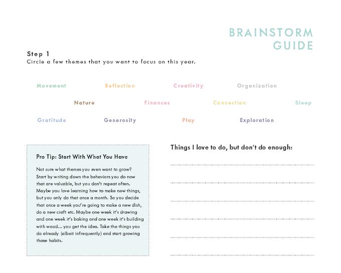 Sneak peek of the Habit Brainstorm Guide