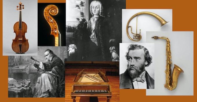Instrument builders and their creations: Antonio Stradivari, Bartolomeo Cristofori, and Adolphe Sax.