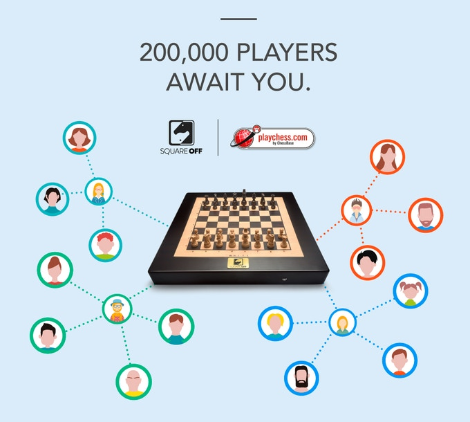Square Off has collaborated with Playchess server with over 200,000 registered users
