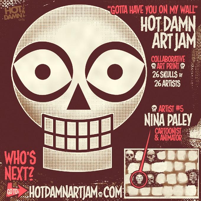 He Is Coming For Sure Horror Movie Quote: HOT DAMN ART JAM Multi-artist Skull Screenprint Created