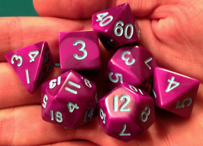 Purple/Pink with Light Blue Numbers