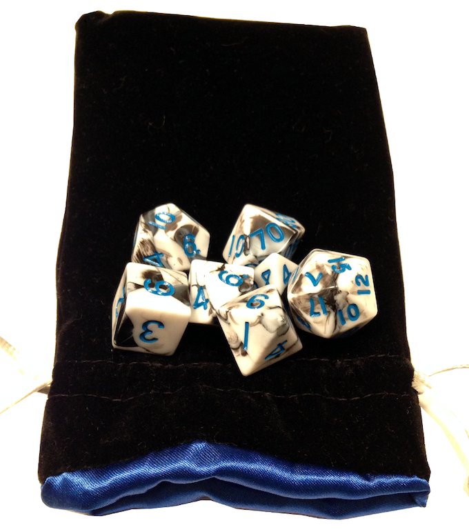 Black/White with Blue Numbers and Black/Blue Bag