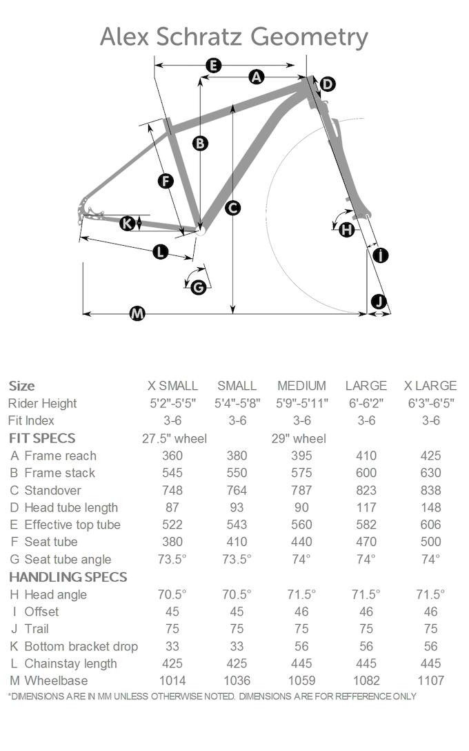 Alex Fit Geometry Chart
