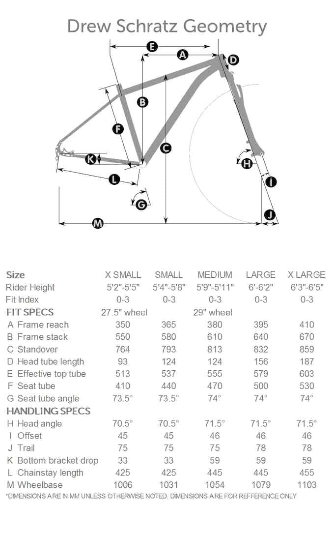 Drew Fit Geometry Chart