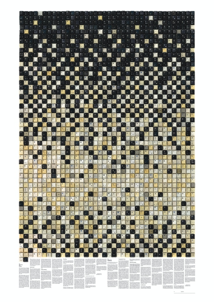 Creating a huge (112cm x 84cm) printed 2016 typographic wall calendar made of two thousand and sixteen used keyboard keys.