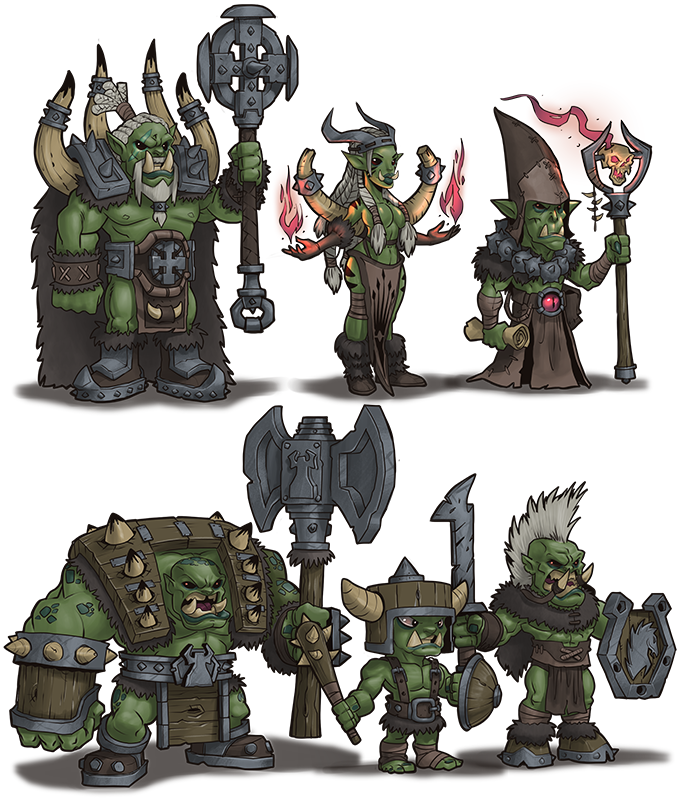 Concept Arts of the Orc Army that the Kickstarter campaign will help us implement.