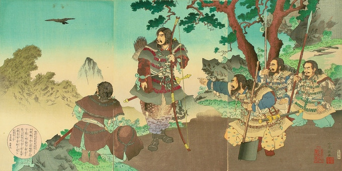 Yatagarasu, a three-legged crow, leads the legendary Emperor Jimmu on his way east