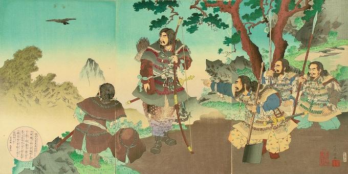 Yatagarasu, a three-legged crow, leads the legendary Emperor Jimmu on his way east
