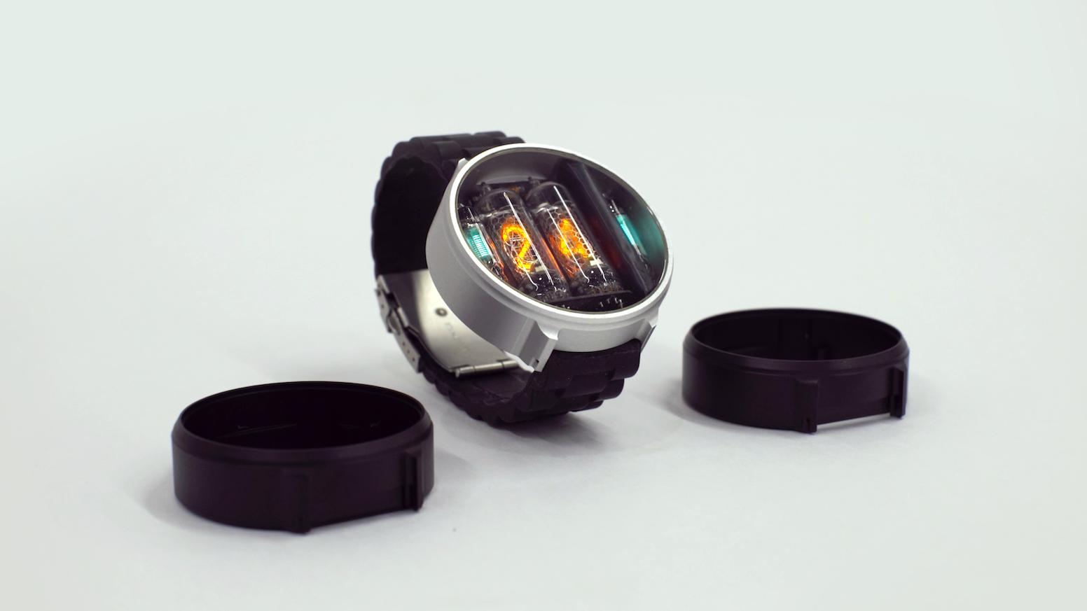 NIWA – original round wristwatch using Nixie tubes for displaying time