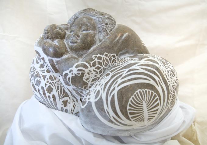 $1,500 Collaborative stone and paper sculpture