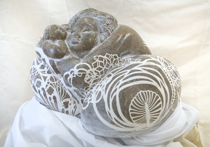 $1,500 Collaborative stone and paper sculpture