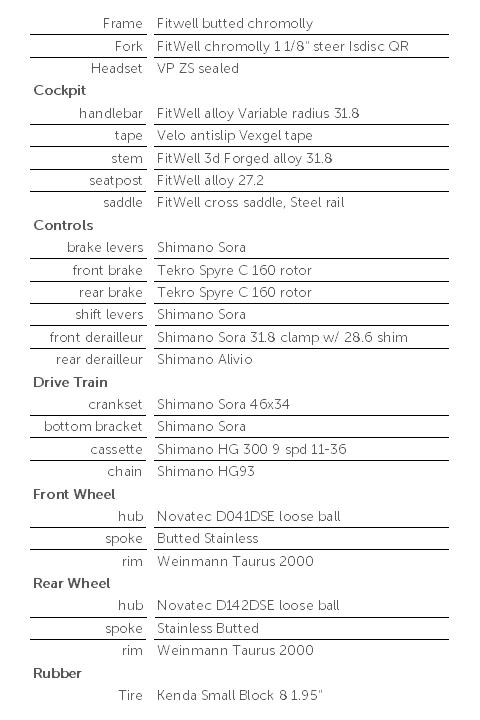 9spd bike specification