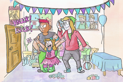 a draft image from Bell's Knock Knock Birthday! That's Bell in the center, rocking their favorite outfit.