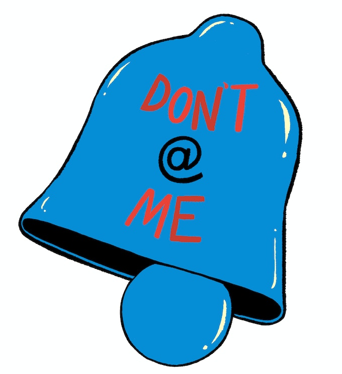 Our Don't  @ Me design is based on Twitter's notification symbol, a bell.