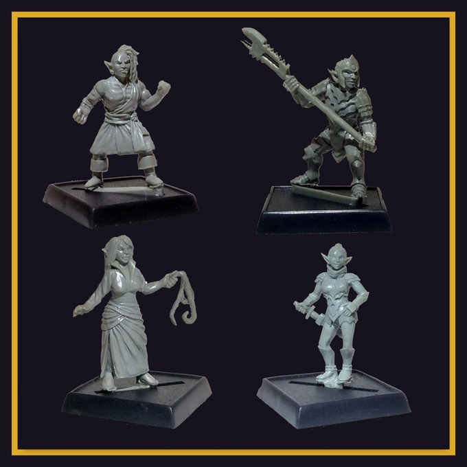 These minis are all sculpted by Micah Nichols.