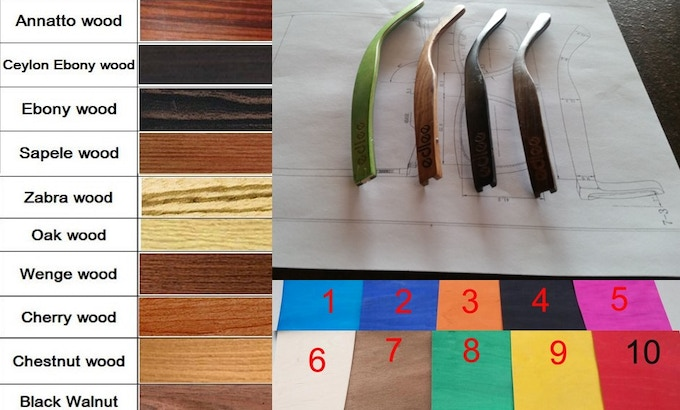 Various colors we were able to choose from along with samples components of our new designs.