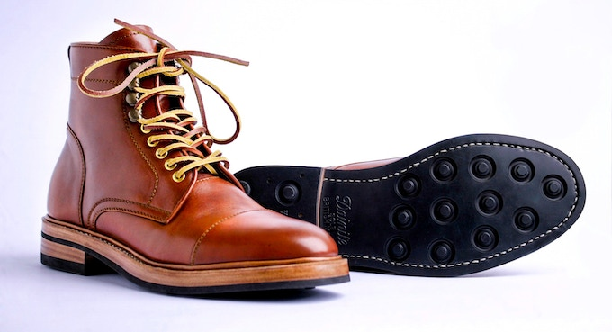 Milestone boots in cognac colorway with storm welt option