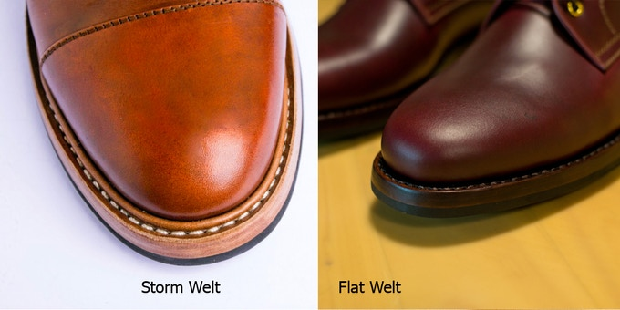 We offer two styles of this handsewn goodyear welt : Storm welt for more waterproofing or flat welt for sleeker looks
