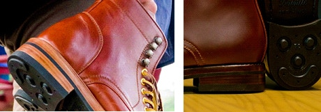 Choose between patterned heel counter or plain heel counter