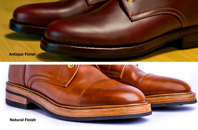 Choose between natural finish (lighter one) or Antique finish (darker one)