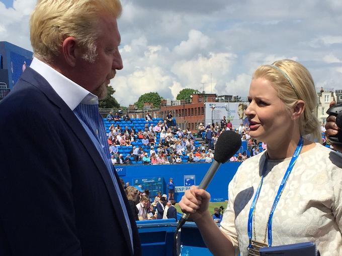 Catherine tells Boris Becker she wasn't born when he won Wimbledon
