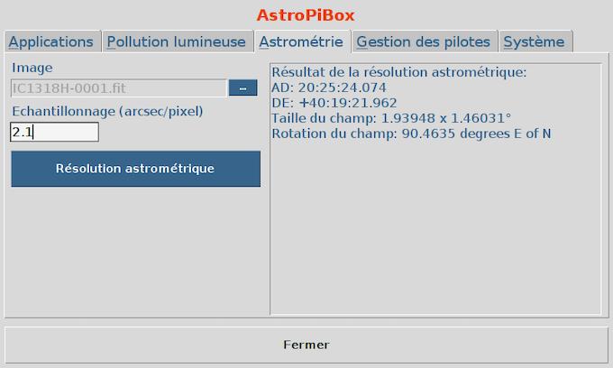 Solution de résolution astrométrique