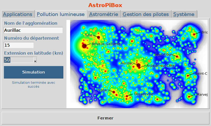 Simulation de la pollution lumineuse