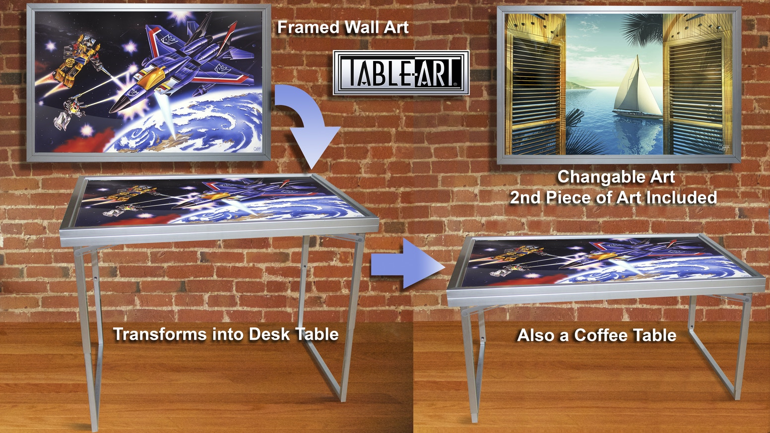 "Beautiful anodized aluminum framed wall art 24X36"" that transforms Into a coffee table + desk table great changeable prints included."
