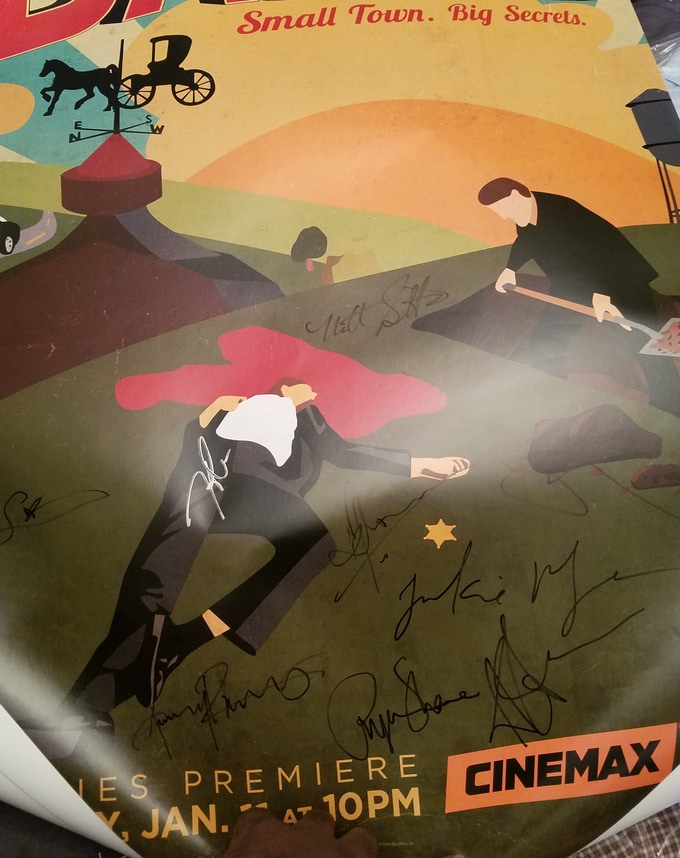 """Cinemax's """"Banshee"""" Full Cast Autographed Poster donated by Frankie Faison, signed by Faison, Antony Starr, Ivana Milicevic, Lili Simmons, Ulrich Thomsen, Hoon Lee and others!"""