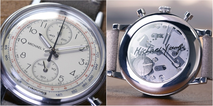 Left: personalized dial with letters, names and initials.  Right: exhibition caseback with reverse printed artwork, photos, logos, signatures, fingerprints, or even your child's footprint! ***hands shown were on prototypes only
