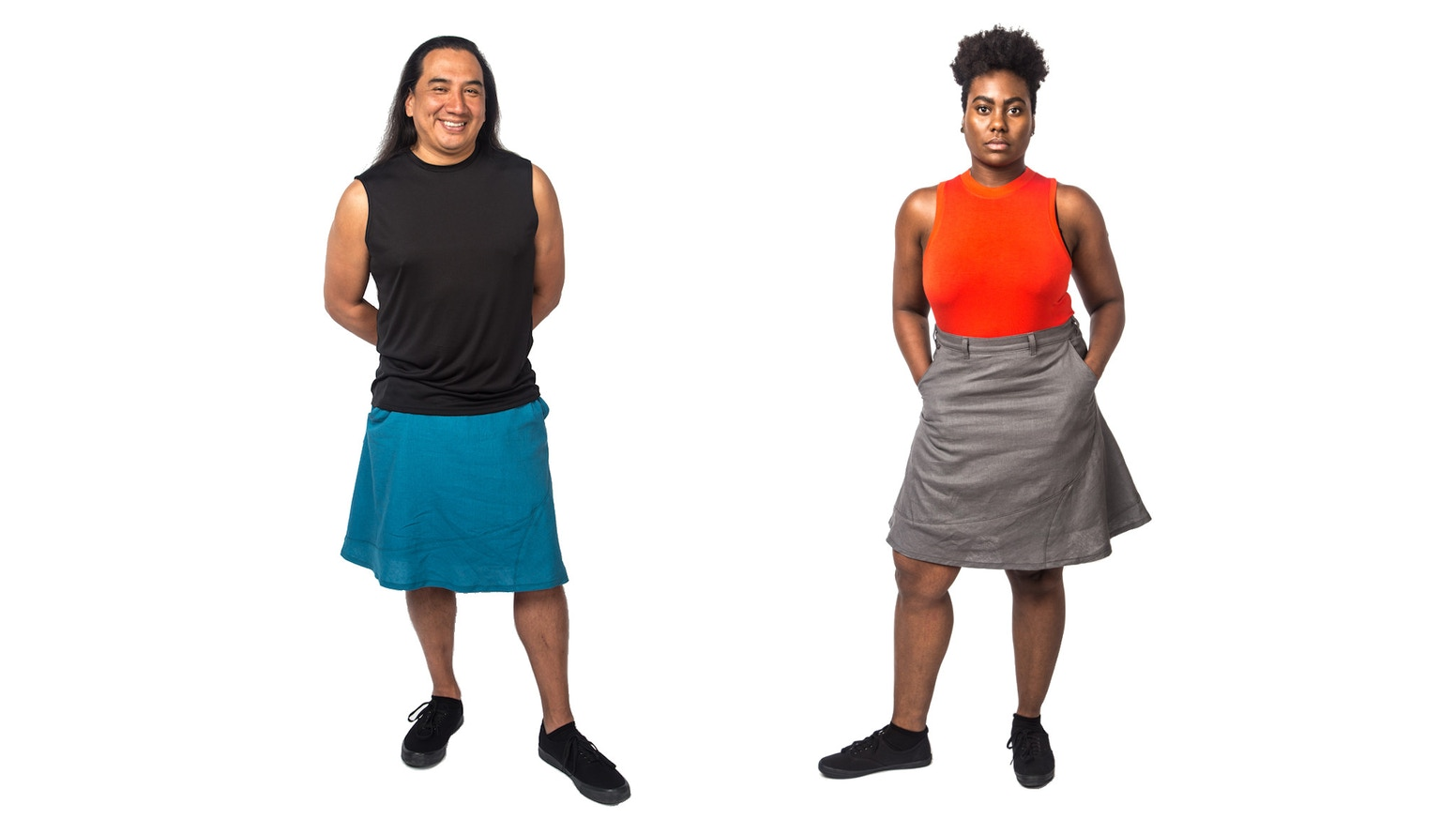 Large pockets. Substantial weight. Fluid drape. Spiralling seams. Made in the USA, for anyone.
