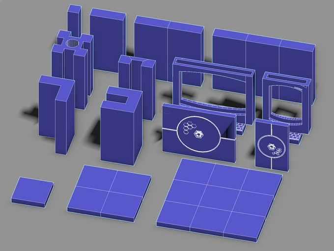 Each Modular Set contains these shaped pieces (themed).  With them you can make just about any layout you can think of